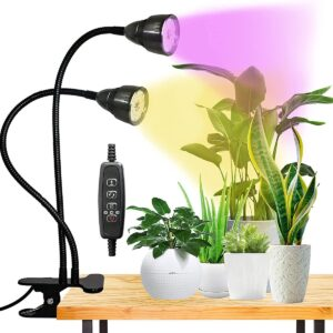 LED Grow Light for Indoor Plant, Gooseneck Dual Head Clip-on Plant Lights for Seedlings Succulents