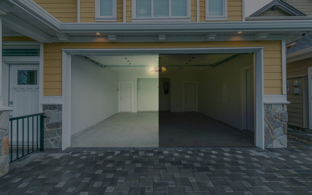 home garage with and without led lights